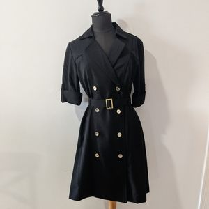 Sharagano Black Button-Up Wrap Style Dress